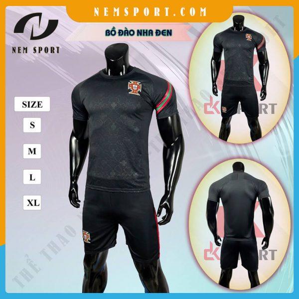 quần áo bóng đá đội tuyển bồ đào nha đen