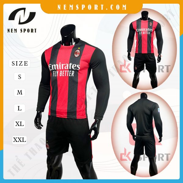 quần áo bóng đá tay dài AC Milan