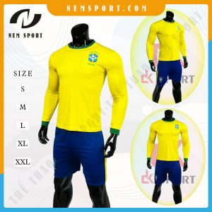 quần áo bóng đá tay dài đội tuyển brazil