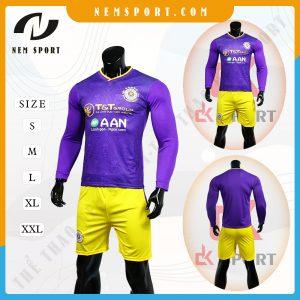 quần áo bóng đá tay dài Hà Nội tím