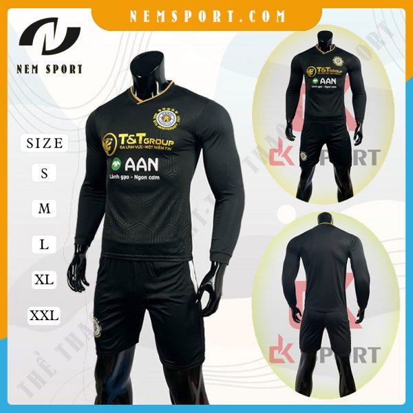 quần áo bóng đá tay dài Hà Nội đen