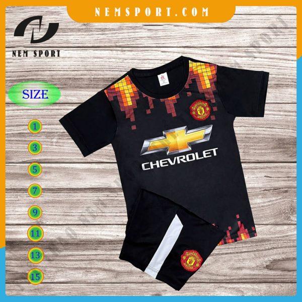 quần áo bóng đá trẻ em manchester united đen